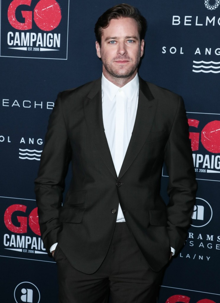 Actor Armie Hammer arrives at the 13th Annual GO Campaign Gala 2019 held at NeueHouse Hollywood on November 16, 2019 in Hollywood, Los Angeles, California, United States.