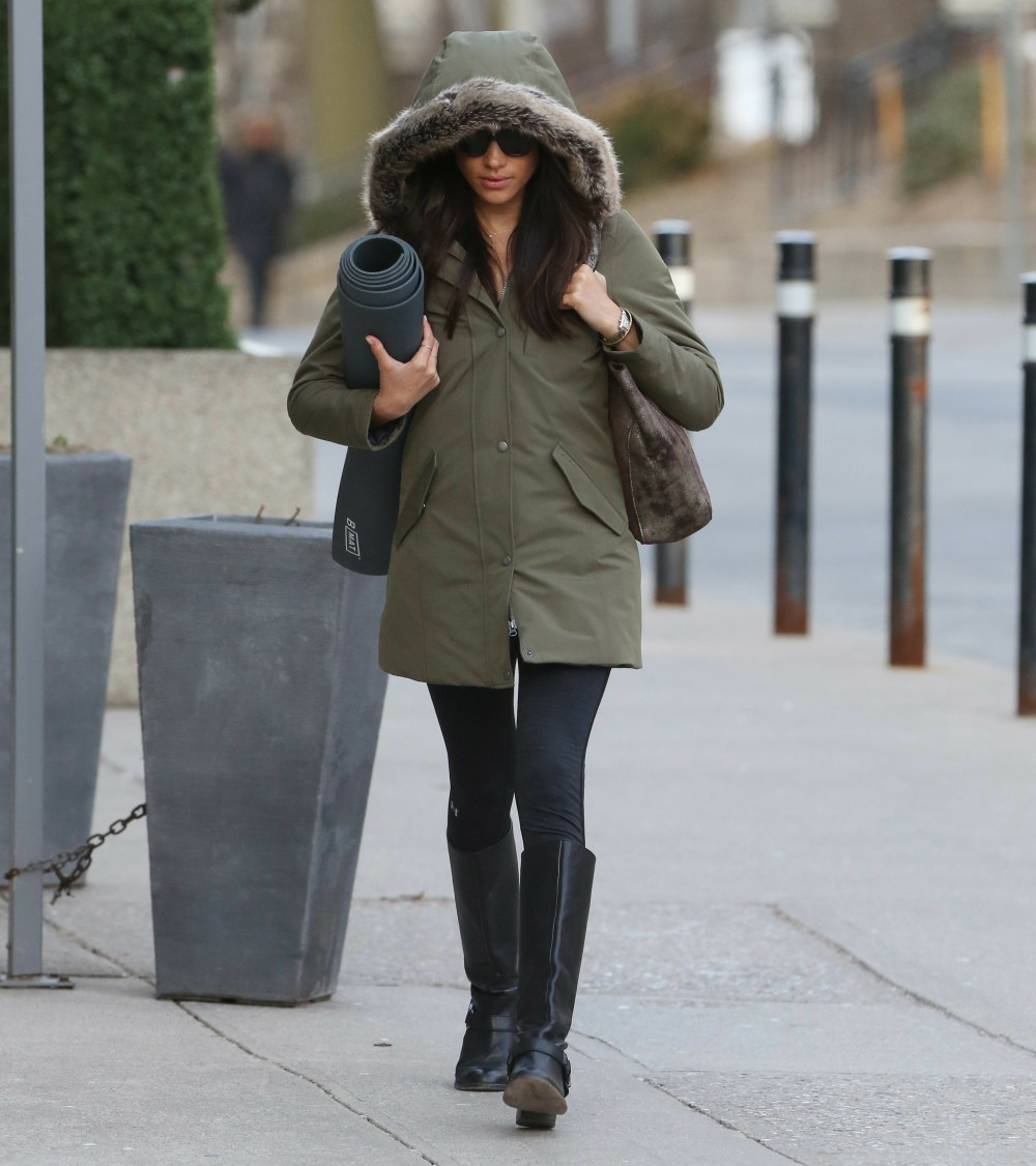 Meghan Markle seen bundled up from the cold as she heads to yoga early this morning in Toronto