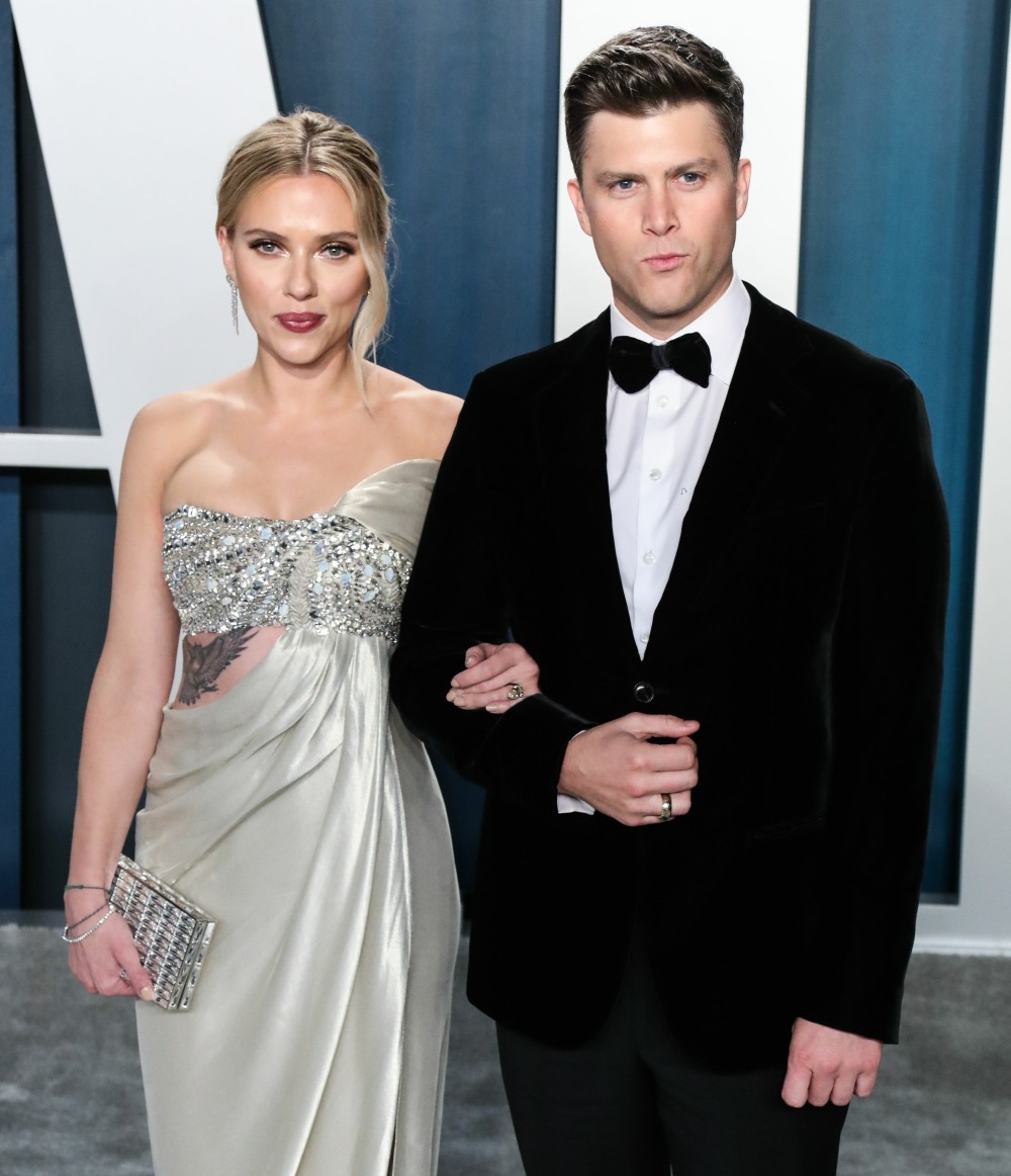 Scarlett Johansson and Colin Jost arrive at the 2020 Vanity Fair Oscar Party held at the Wallis Anne...
