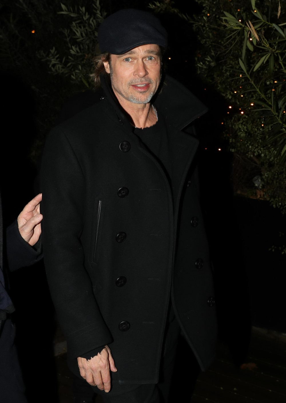 "Brad Pitt leaves the Museum of Modern Art in Paris after visiting the exhibition ""Almost Human"""