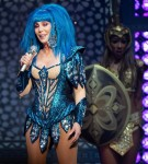Cher performing live at 02 Arena in London.