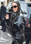 Reality Star Kim Kardashian is seen having breakfast at the Palais De Tokyo in Paris