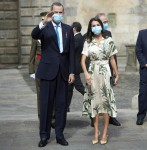 King Felipe VI of Spain and Queen Letizia of Spain attend National Offering to the Apostle Santiago