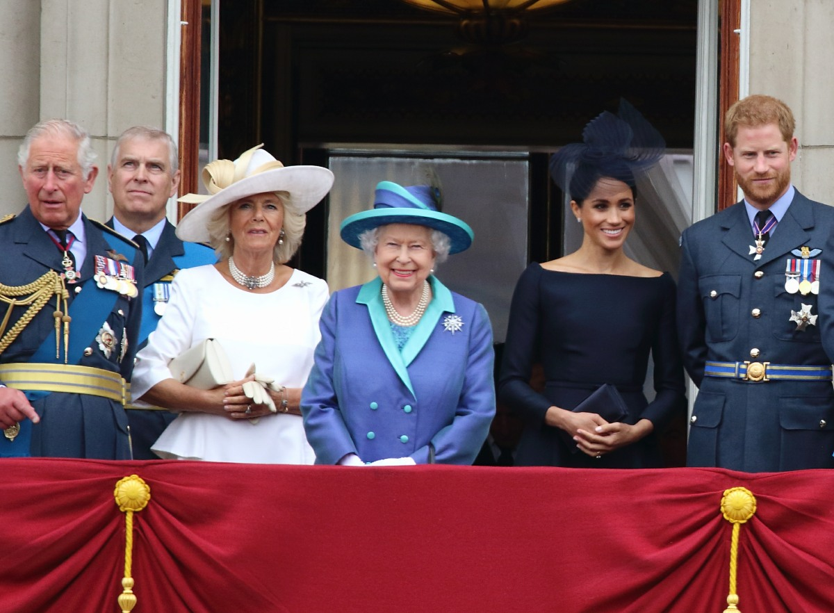 Prince Charles, Prince Andrew, Camilla Duchess of Cornwall, Queen Elizabeth II, Meghan Duchess of Sussex, Prince Harry at the 100th Anniversary of the Royal Air Force, Buckingham Palace, London, UK on Tuesday 10th July 2018