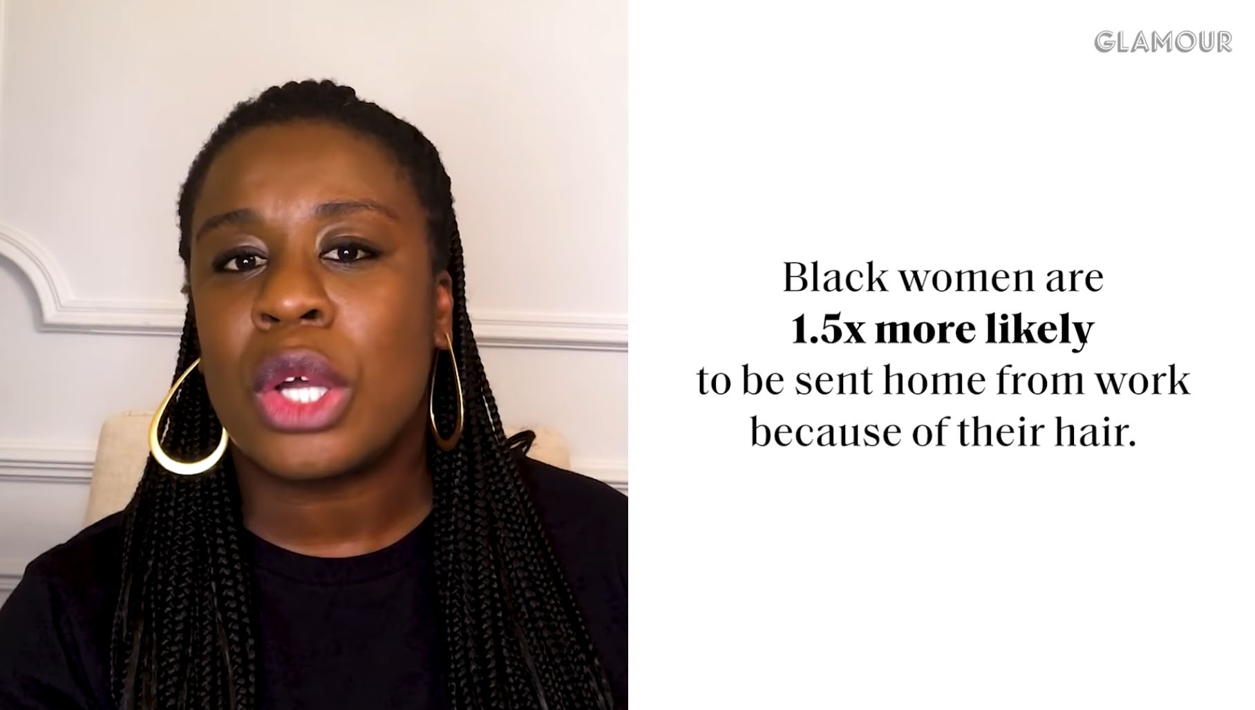 Uzo Adubo with the caption 'Black women are 1.5 times more likely to be sent home from work simply because of their hair.'