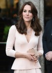 Catherine Duchess of Cambridge aka Kate Middleton leaving the National Portrait Gallery, wearing an Alexander McQueen dress