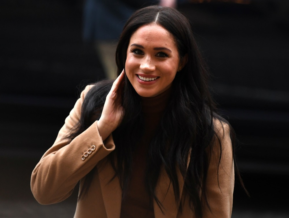 Britain's Meghan, Duchess of Sussex reacts as she arrives to visit Canada House, in London on January 7, 2020, in thanks for the warm Canadian hospitality and support they received during their recent stay in Canada.