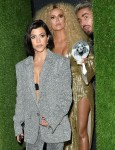 Khloe Kardashian and Kourtney Kardashian leave Diana Ross's 75th birthday party at Warwick