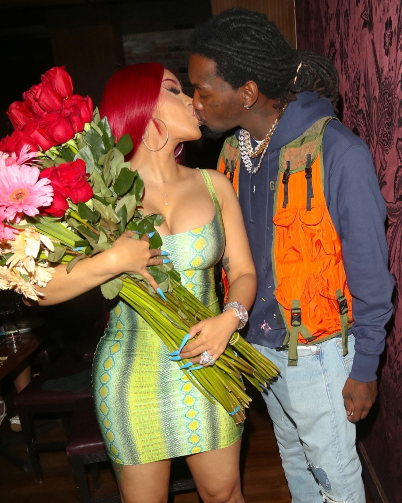 Offset surprises his wife Cardi B with multiple bouquets of flowers at dinner