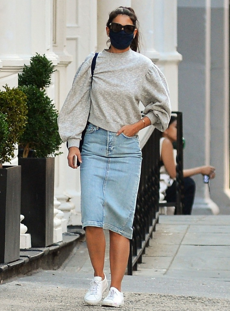 Katie Holmes is seen out on a casual stroll in Soho