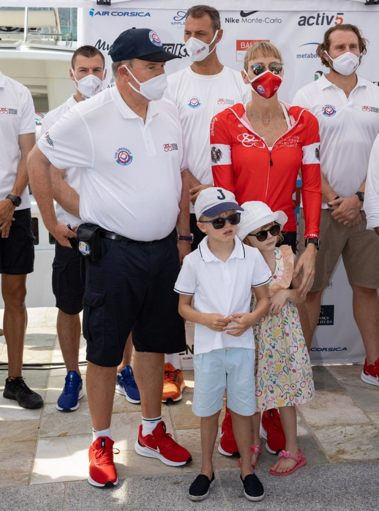 """The princely family of Monaco at the start of the 3rd edition of the """"The Crossing: Calvi-Monaco Water Bike Challenge"""" race"""