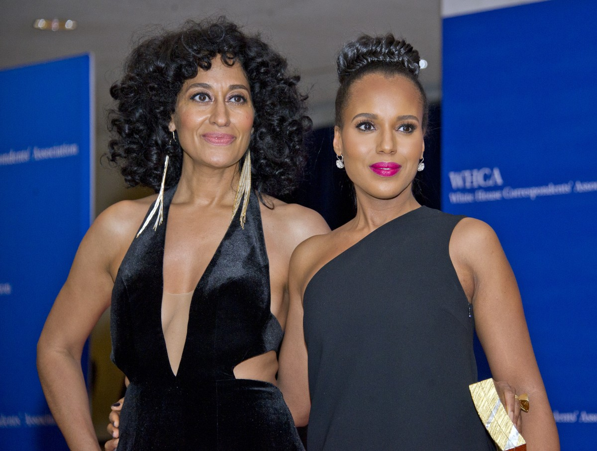 Tracee Ellis Ross, left, and Kerry Washington arrive for the 2016 White House Correspondents Association Annual Dinner at the Washington Hilton Hotel on Saturday, April 30, 2016.