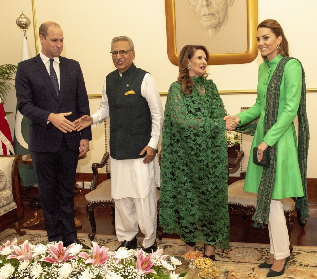 The Duke and Duchess of Cambridge  called on The President of Pakistan  Dr. Arif Alvi  at the Presidential Palace,