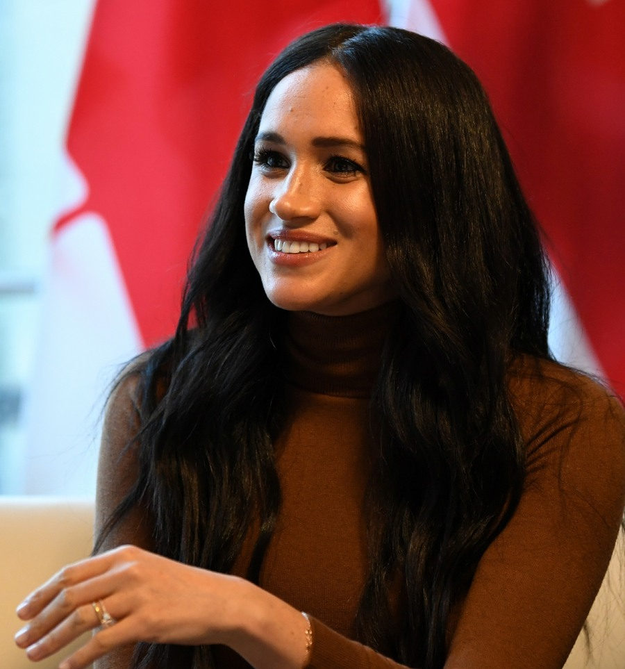 Britain's Meghan, Duchess of Sussex reacts during her visit to Canada House in thanks for the warm Canadian hospitality and support they received during their recent stay in Canada, in London on January 7, 2020.