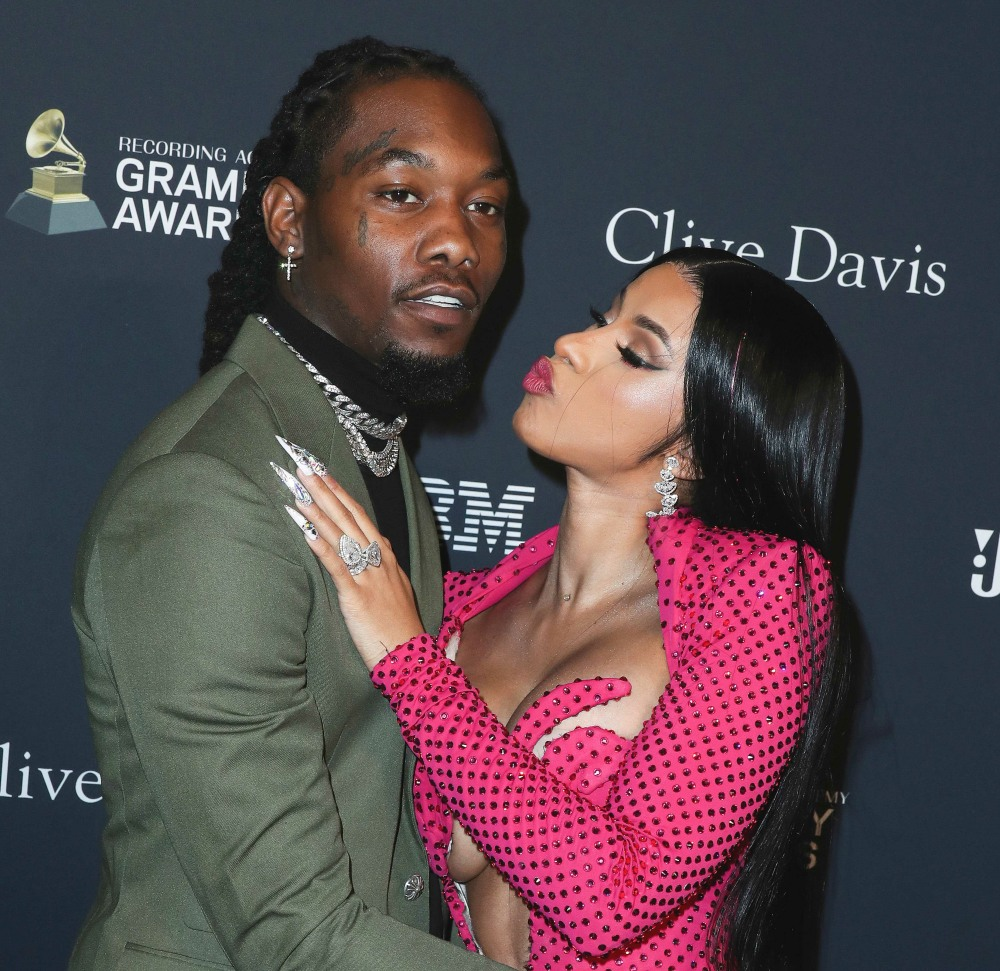 Offset and Cardi B arrive at The Recording Academy And Clive Davis' 2020 Pre-GRAMMY Gala held at The Beverly Hilton Hotel on January 25, 2020 in Beverly Hills, Los Angeles, California, United States.