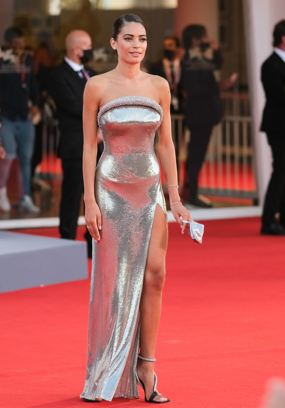 Elodie poses on the red carpet at Opening Ceremony for the 77th Venice International Film Festival ( Berlinale ) on Wednesday 2 September 2020