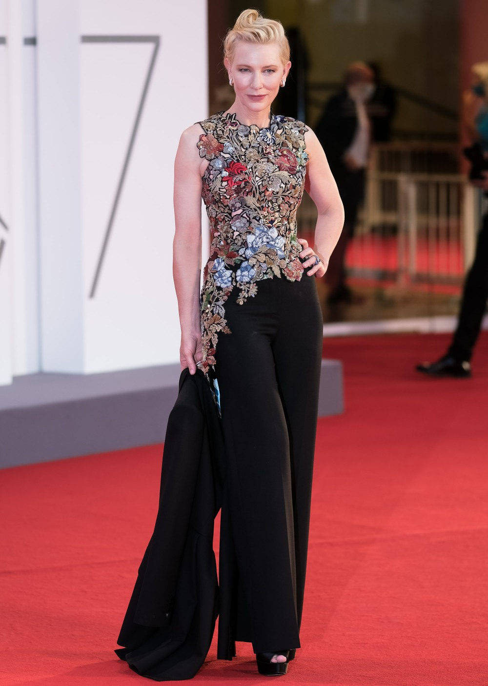 Cate Blanchett poses on the red carpet at the a screening of Amants ( Lovers ) for the 77th Venice International Film Festival ( La Biennale Di Veneziale ) on Thursday 3 September 2020