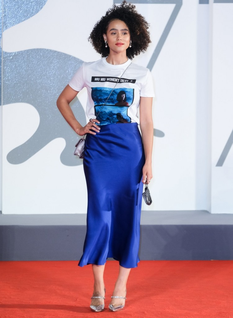 Nathalie Emmanuel poses on the red carpet for Revenge Room during  the 77th Venice International Film Festival ( La Biennale Di Veneziale ) on Monday 7 September 2020