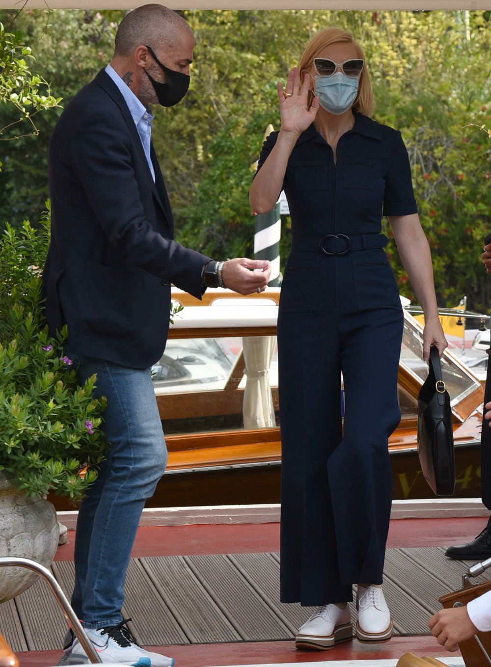 77th Venice Film Festival held in Venice, Italy - Cate Blanchett seen without her mask as she leaves her hotel