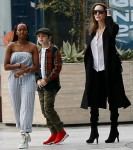 Angelina Jolie spends a day shopping at the mall with her kids and an assistant
