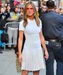 Jennifer Aniston is all smiles as she leaves Good Morning America
