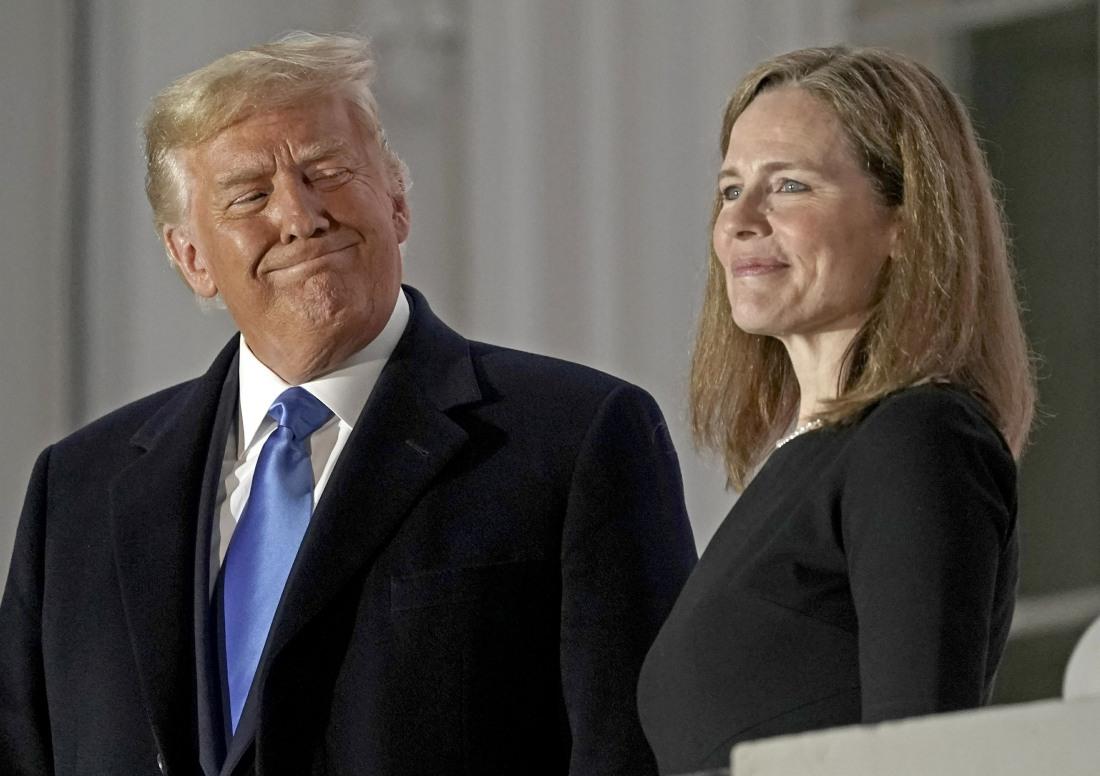 President Donald J. Trump participates in the ceremonial swearing-in of Amy Coney Barrett