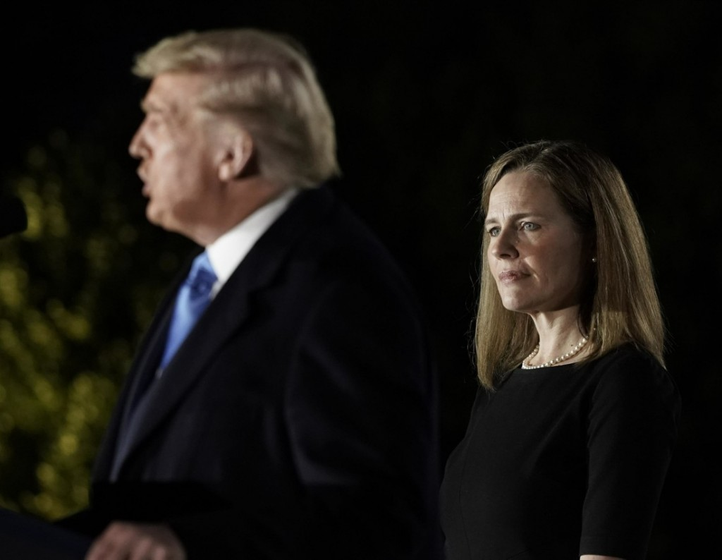 President Donald J. Trump participates in the ceremonial swearing-in of Amy Coney Barrett