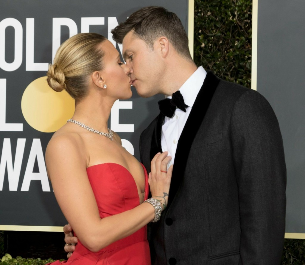Scarlett Johansson and Colin Jost attend the 77th Annual Golden Globe Awards, Golden Globes, at Hotel Beverly Hilton in Beverly Hills, Los Angeles, USA, on 05 January 2020.   usage worldwide