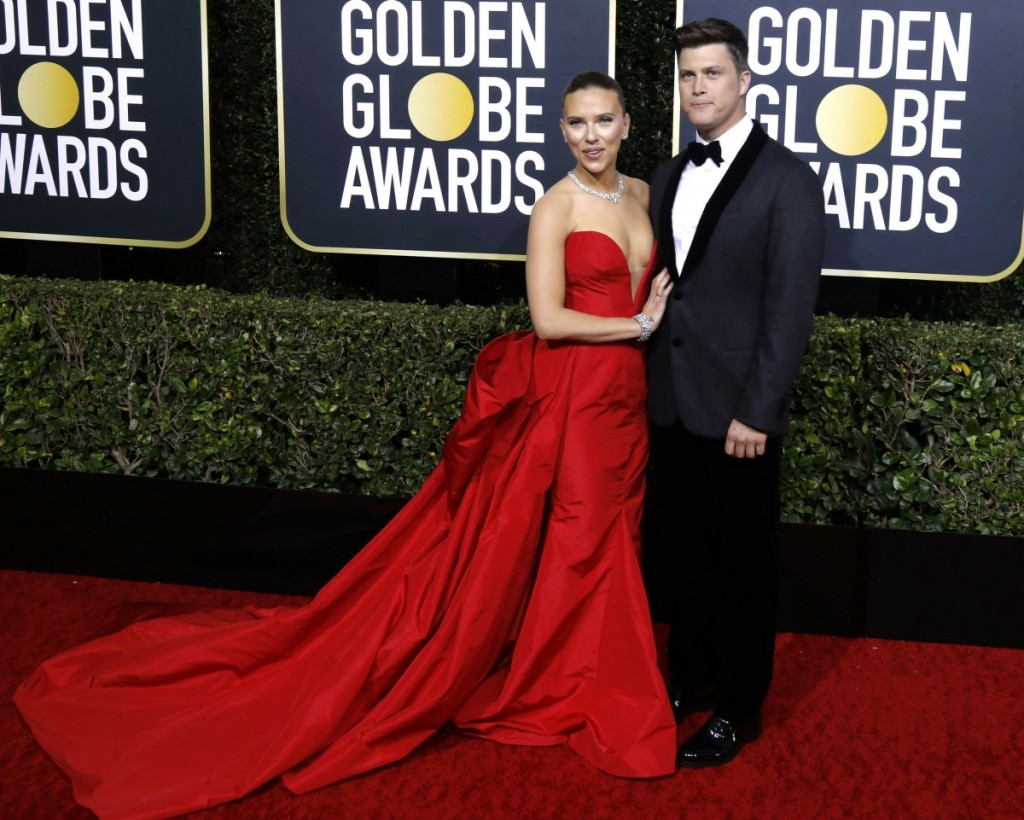 Scarlett Johansson and Colin Jost attending the 77th Annual Golden Globe Awards at The Beverly Hilton Hotel on January 5, 2020 in Beverly Hills, California. | usage worldwide