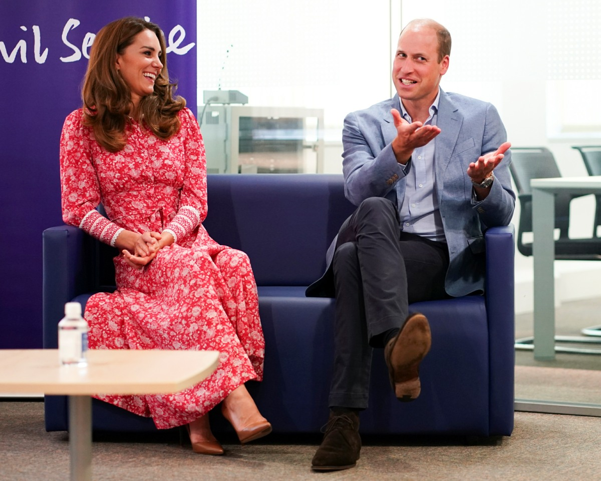 Britain's Prince William and Catherine, Duchess of Cambridge speak to people who found work through a job centre, at the London Bridge Jobcentre, in London