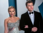 Scarlett Johansson and Colin Jost attend the Vanity Fair Oscar Party at Wallis Annenberg Center for...