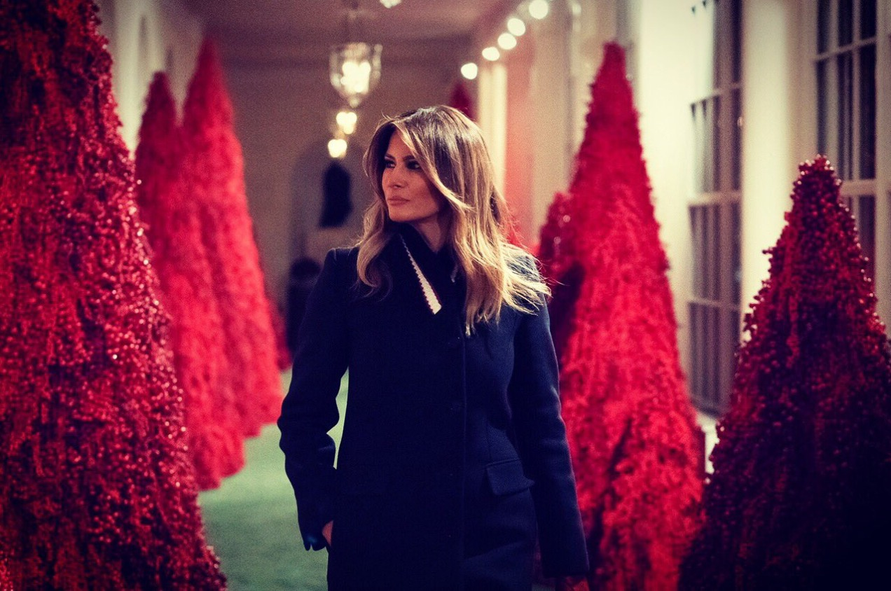 Melania with blood red trees in 2018