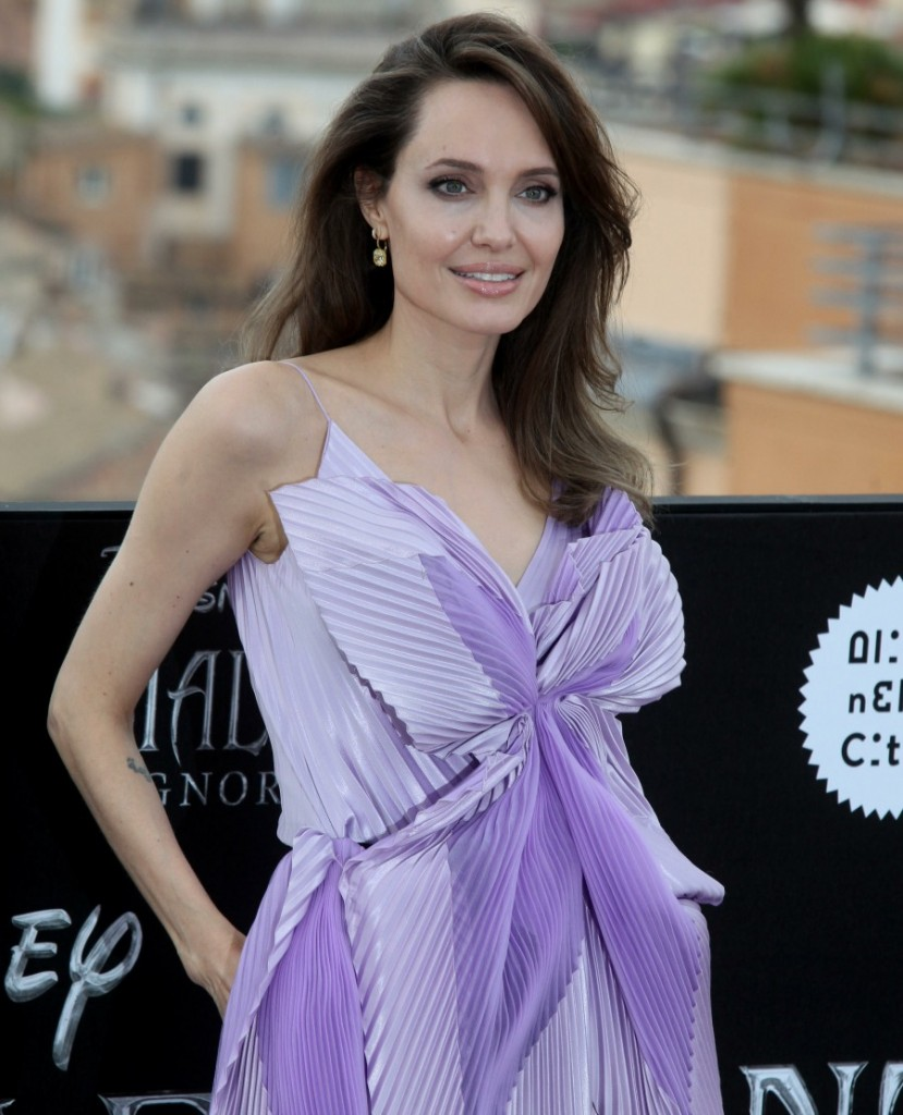 Angelina Jolie and Michelle Pfeiffer attend the Maleficent photocall in Rome, Italy