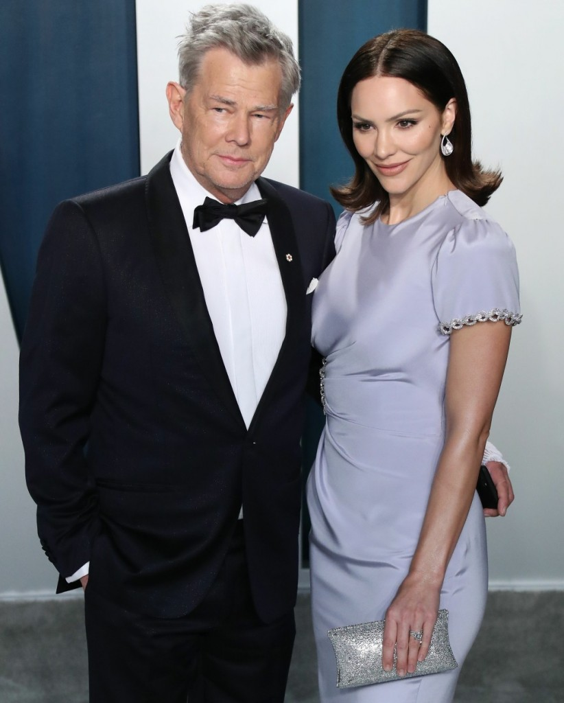 David Foster and Katharine McPhee arrive at the 2020 Vanity Fair Oscar Party held at the Wallis Anne...