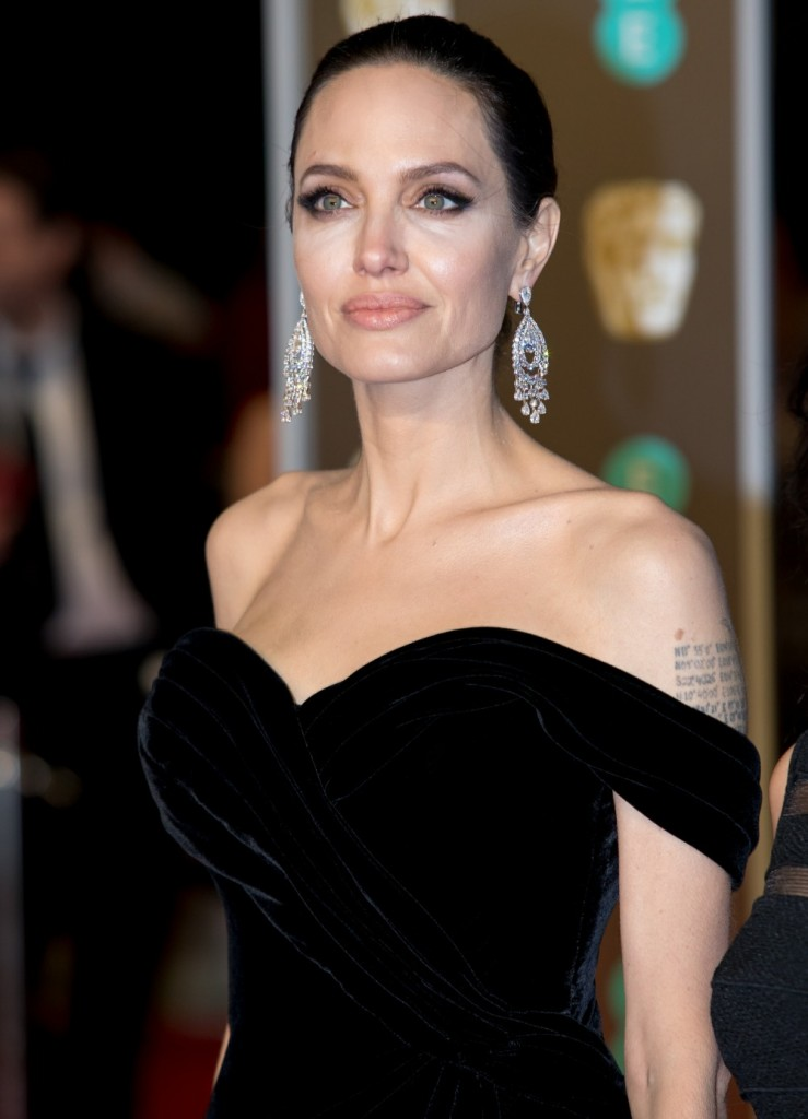 Angelina Jolie arrives at the EE British Academy Film Awards, Bafta Awards, at the Royal Albert Hall in London, England, Great Britain, on 18 February 2018. 