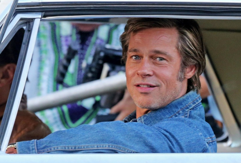 Brad Pitt and Leonardo DiCaprio back in their car on the set of 'Once Upon a Time in Hollywood'