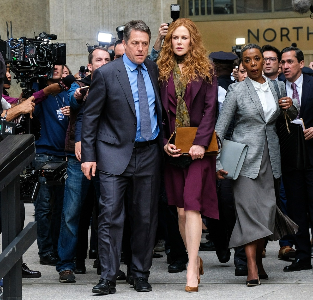 Nicole Kidman films with Hugh Grant and Donald Sutherland in NYC