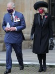 The Prince of Wales and the Duchess of Cornwall attend an Armistice Day Service