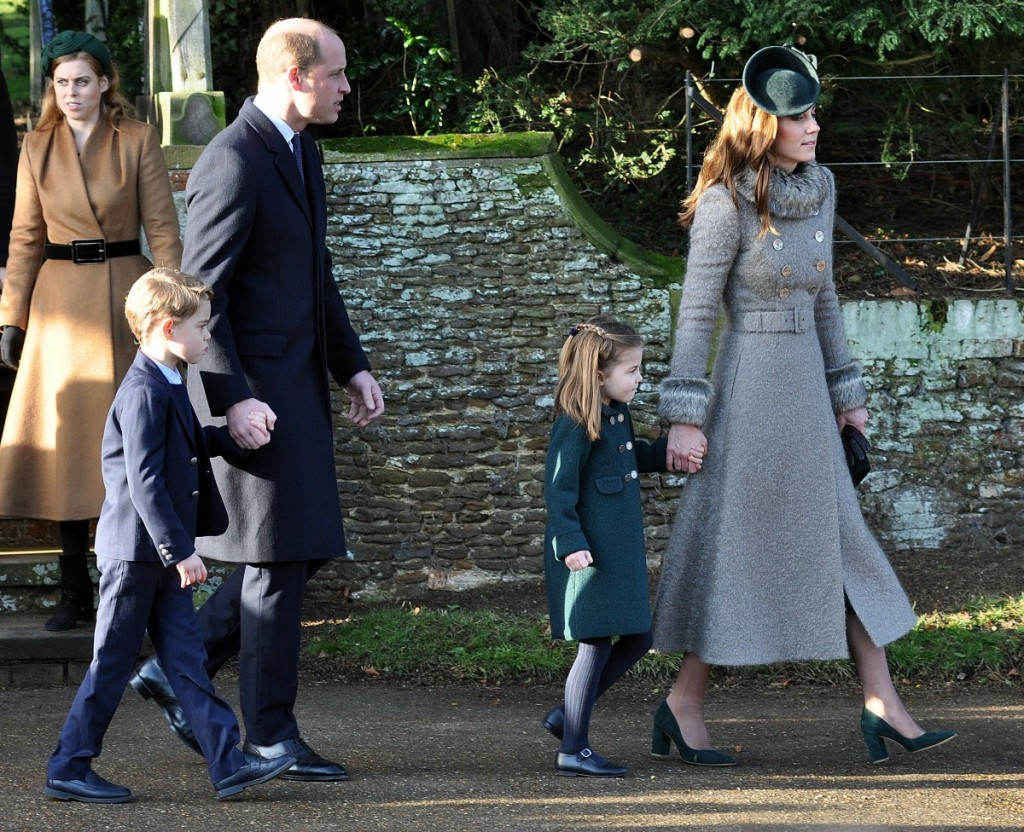 Duke & Duchess of Cambridge leaving Sandringham Church after the Xmas Day service with Princess Charlotte and Prince George.