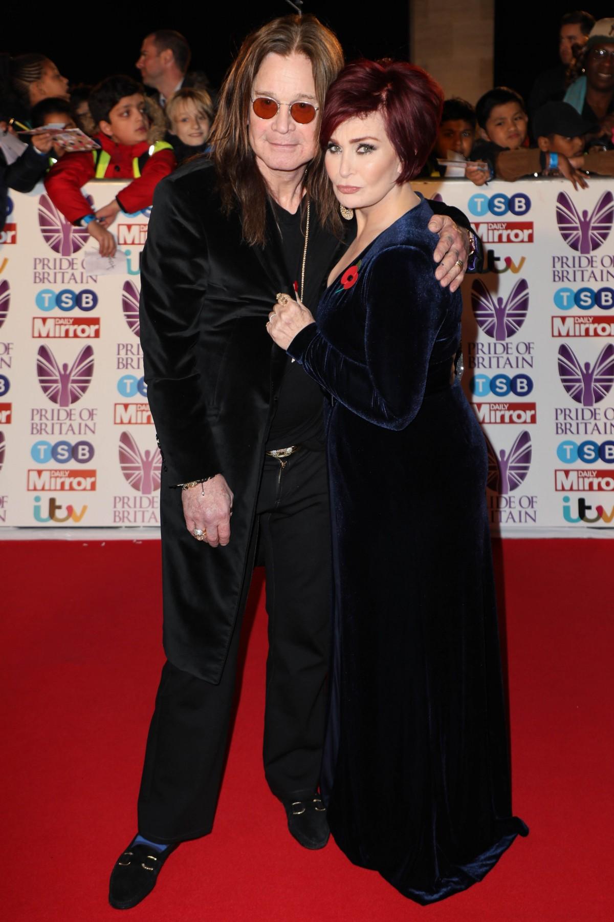 Ozzy Osbourne and Sharon Osbourne arrive for the Pride of Britain Awards, Grosvenor House, London, UK