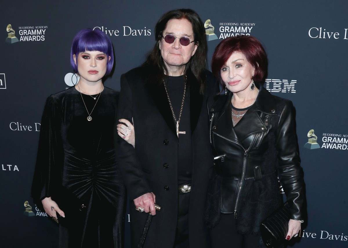 Kelly Osbourne, Ozzy Osbourne and Sharon Osbourne arrive at The Recording Academy And Clive Davis' 2020 Pre-GRAMMY Gala held at The Beverly Hilton Hotel on January 25, 2020 in Beverly Hills, Los Angeles, California, United States.