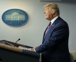 United States President Donald Trump holds a briefing