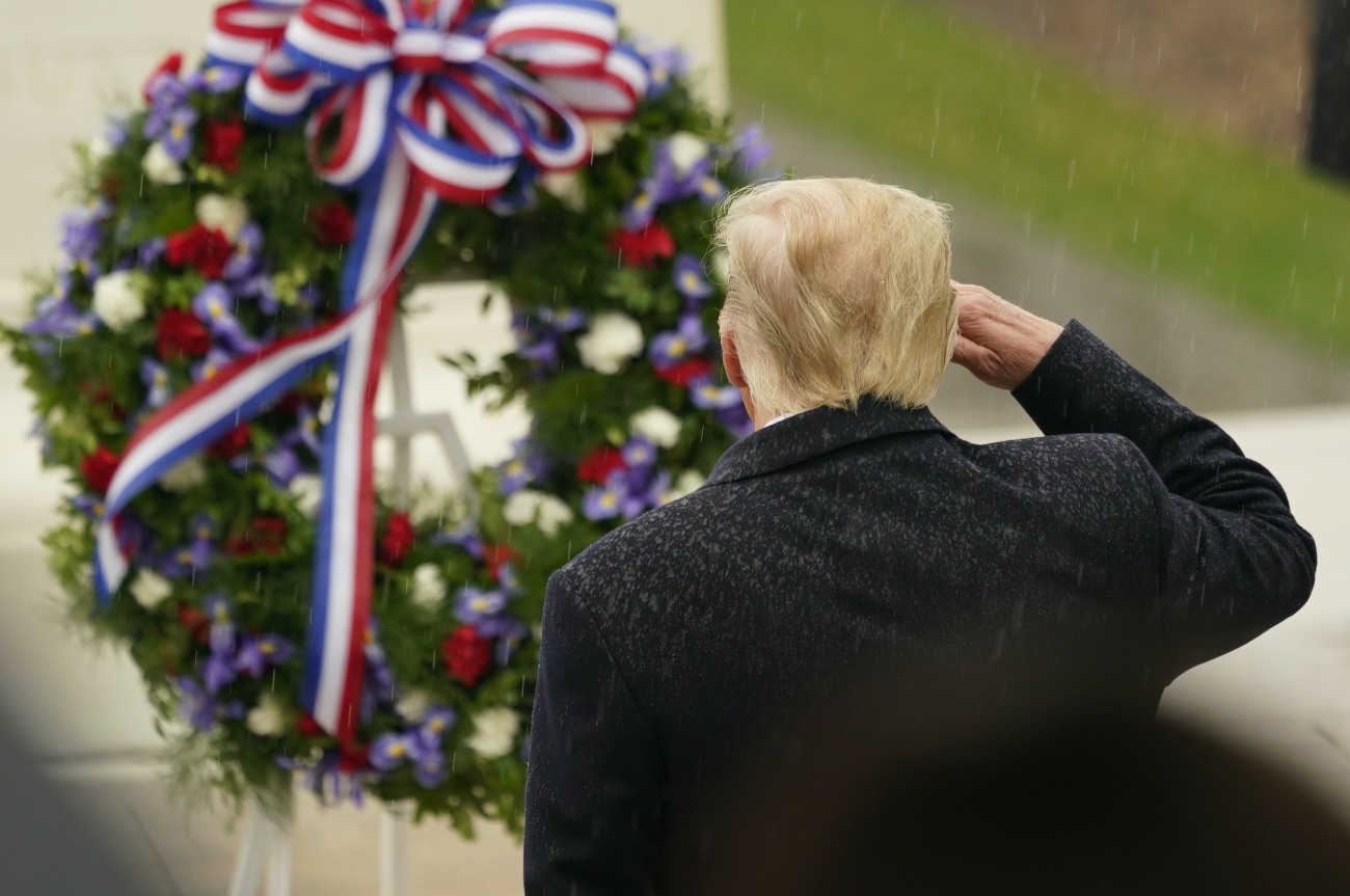 United States President Donald J. Trump and First lady Melania Trump participate in a  National Veterans Day Observance