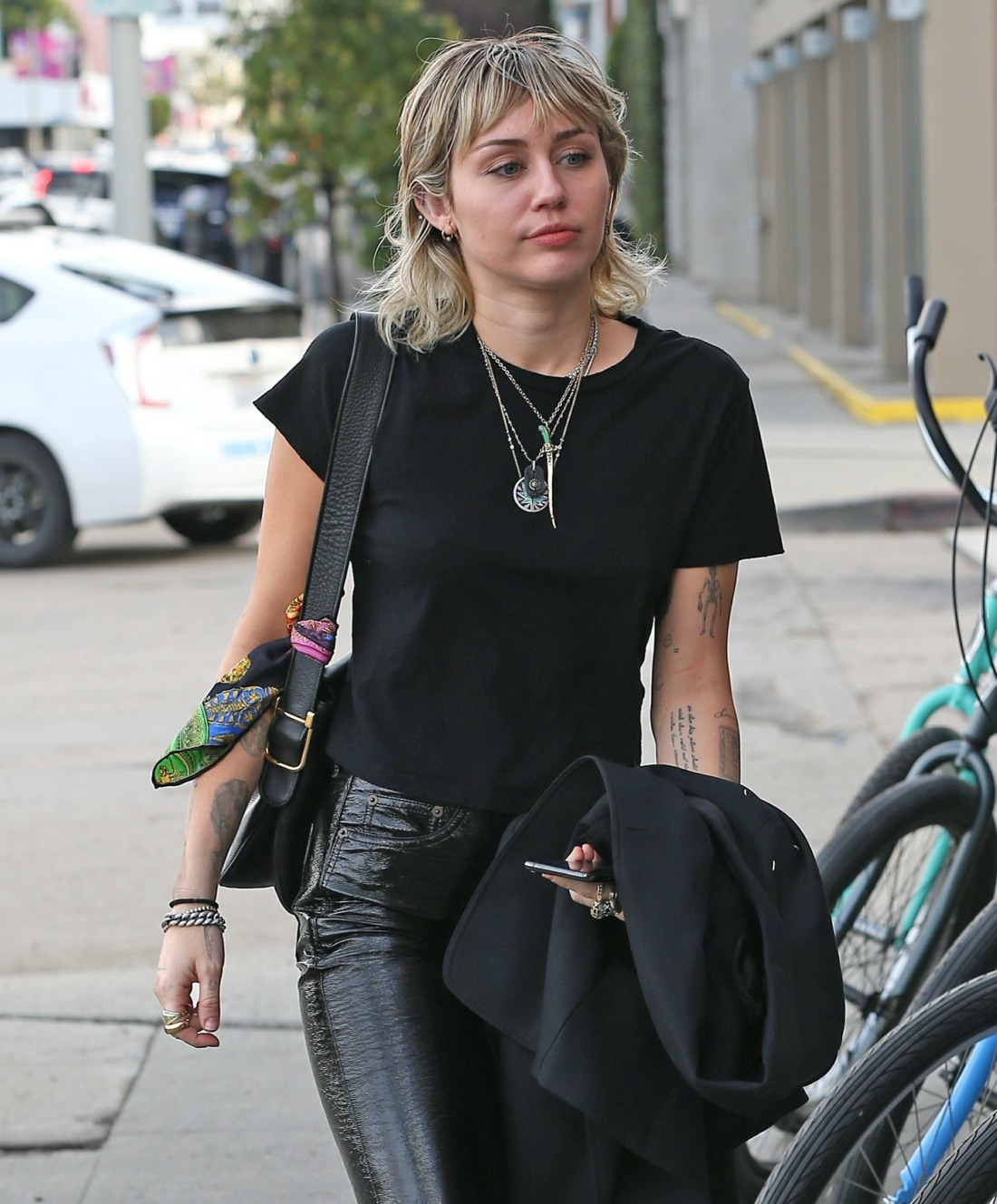 Miley Cyrus is looking relaxed and positive as she heads to the studio for a recording session in West Hollywood