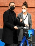 Katie Holmes and Emilio Vitolo Jr. out with a Citibike in SoHo
