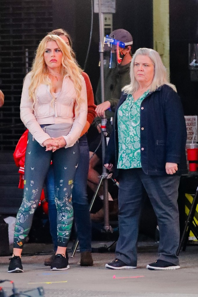 """Busy Philipps, Paula Pell, and Sara Bareilles on the set of """"Girls5Eva"""" in NYC"""