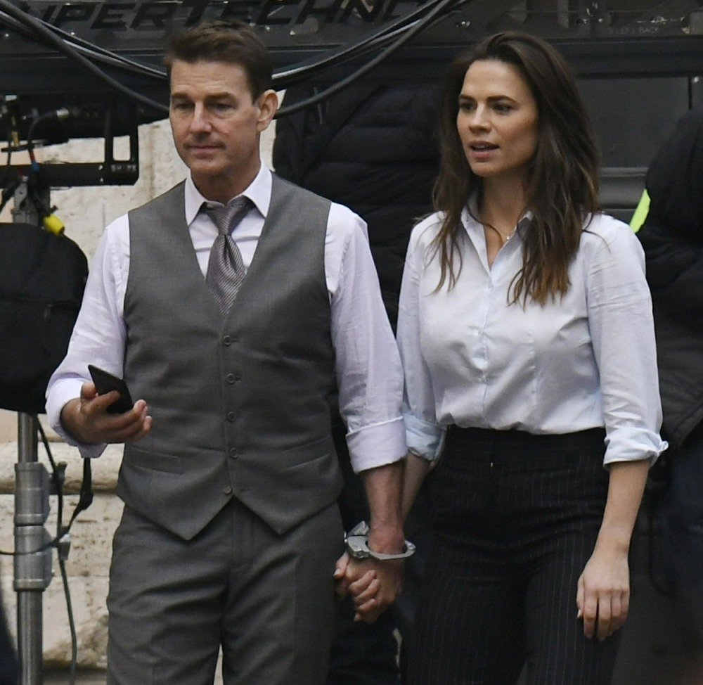 Tom Cruise and Hayley Atwell handcuffed on the set of Mission Impossible 7