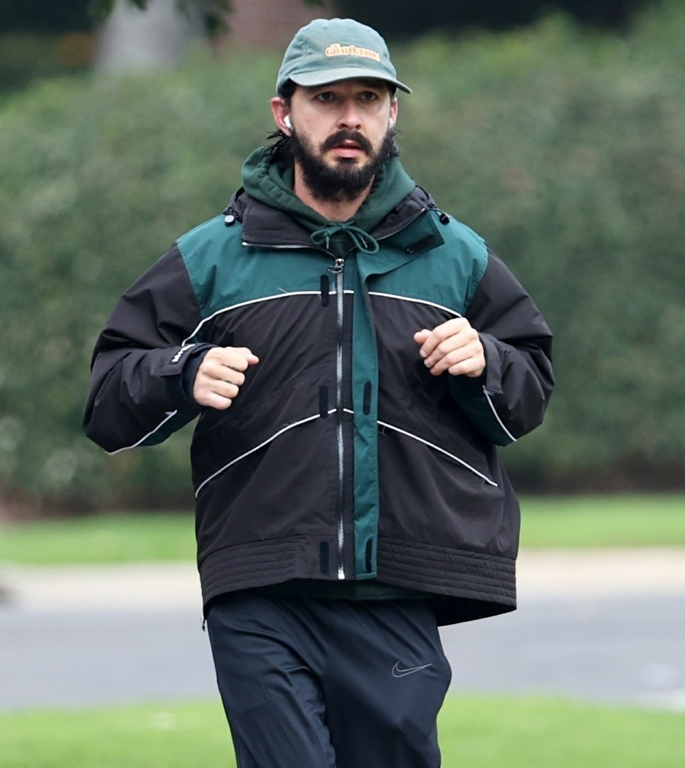 Shia LaBeouf out for his morning run as ex-girlfriend FKA Twigs sues him for sexual assault