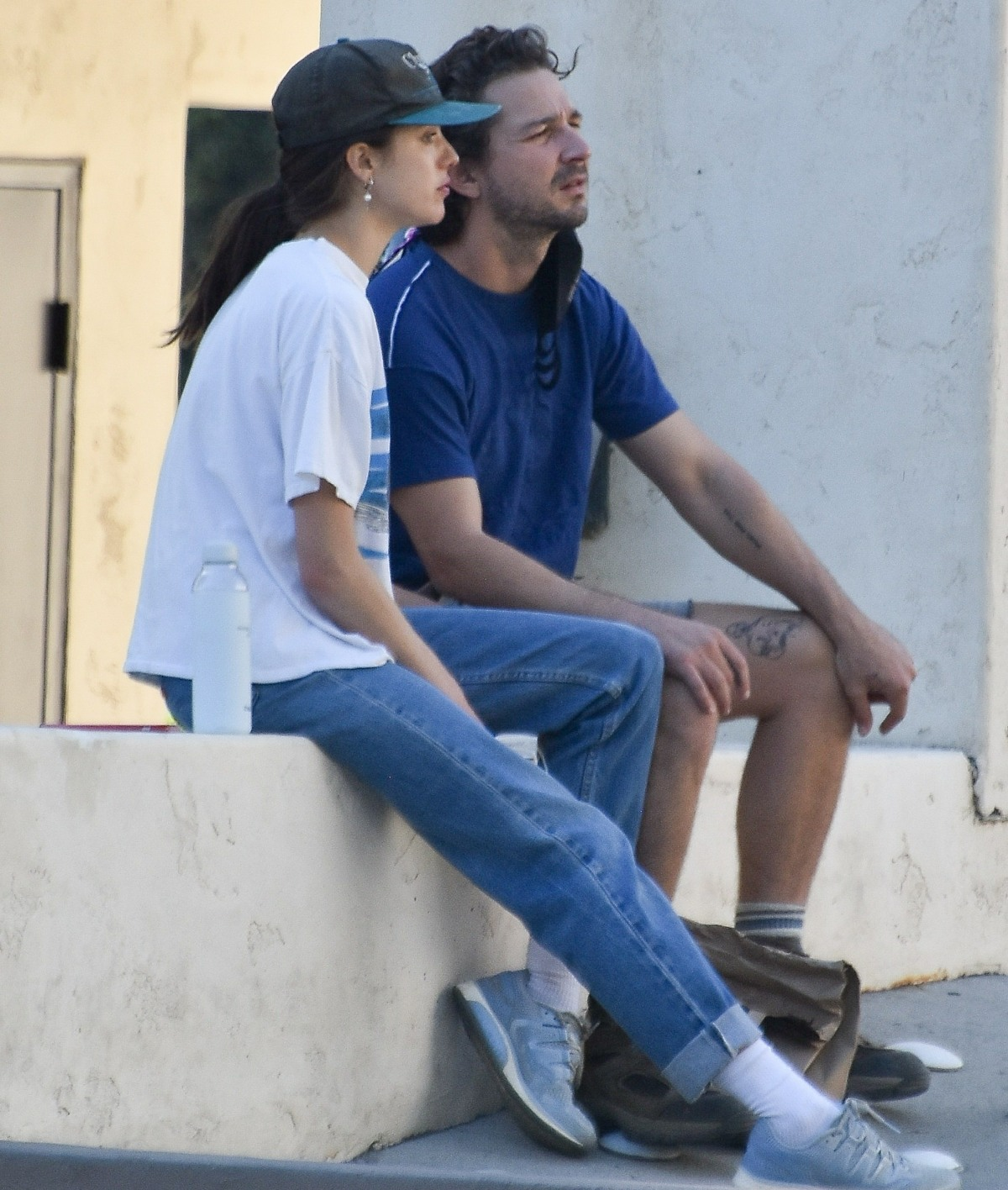 Shia LaBeouf and girlfriend Margaret Qualley picking up food to go