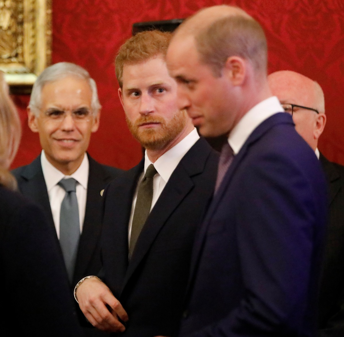 Britain's Prince William, Duke of Cambridge (R) and Britain's Prince Harry, Duke of Sussex (2R), host a reception to officially open the 2018 Illegal Wildlife Trade Conference at St James' Palace in London on October 10, 2018. - The 2018 Illegal Wildlife Trade Conference is the fourth such international conference bringing together heads of state, ministers and officials from nearly 80 countries, alongside NGOs, academics and businesses, to build on previous efforts to tackle this lucrative criminal trade. The conference is being hosted by the UK Government from 11th – 12th October 2018.